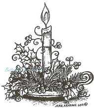 Holiday Candle And Holly, Wood Mounted Rubber Stamp NORTHWOODS - NEW, F8768