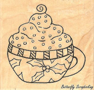 Holly Mug, Wood Mounted Rubber Stamp IMPRESSION OBSESSION - NEW, D16027