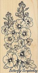 Hollyhocks Flowers Wood Mounted Rubber Stamp PENNY BLACK - NEW, 4376K