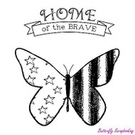 Home Of The Brave, Cling Style Unmounted Stamp UNITY STAMP, INC. - NEW, IB-525