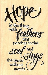 Hope Sings Text, Wood Mounted Rubber Stamp STAMPENDOUS, NEW- M321