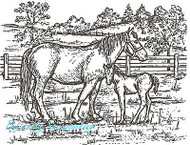 Horse Mare & Colt Pasture Wood Mounted Rubber Stamp Northwoods Rubber Stamp New