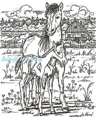 Horse Mare & Colt Wood Mounted Rubber Stamp Northwoods Rubber Stamp P1734 New