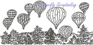 Hot Air Balloons Pine Scene Wood Mounted Rubber Stamp Northwoods Stamp O9558 New