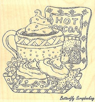 Hot Cocoa, Wood Mounted Rubber Stamp IMPRESSION OBSESSION - NEW, F16029