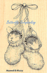 HOUSE MOUSE Baby Bootie Babies Wood Mounted Rubber Stamp STAMPENDOUS HMM03 New