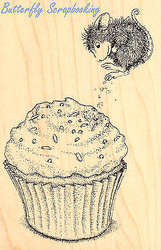 HOUSE MOUSE Birthday Cupcake Jump Wood Mounted Rubber Stamp STAMPENDOUS HMP05 Ne