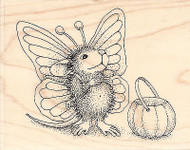 HOUSE MOUSE Butterfly Halloween Wood Mounted Rubber Stamp STAMPENDOUS HMV01 New