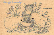 HOUSE MOUSE Chicks Sharing Seed Wood Mounted Rubber Stamp STAMPENDOUS HMP22 New