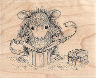 HOUSE MOUSE CHRISTMAS Gifts Tie Wood Mounted Rubber Stamp STAMPENDOUS HMV02 New
