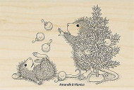 HOUSE MOUSE Christmas Ornaments Wood Mounted Rubber Stamp STAMPENDOUS HMP33 New