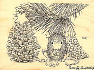 HOUSE MOUSE Christmas Pinecone Tree Wood Mounted Rubber Stamp STAMPENDOUS HMR14