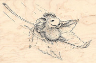 HOUSE MOUSE Fall Flight Wood Mounted Rubber Stamp STAMPENDOUS HMP01 Autumn Leaf