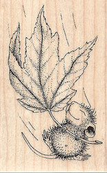 HOUSE MOUSE Fall Float Wood Mounted Rubber Stamp STAMPENDOUS Autumn Leaf New