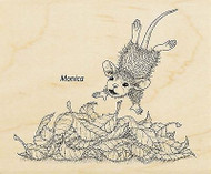 HOUSE MOUSE FALL Leaf Plunge Wood Mounted Rubber Stamp STAMPENDOUS HMV23 New