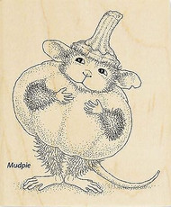 HOUSE MOUSE Halloween PUMPKIN Wood Mounted Rubber Stamp STAMPENDOUS HMV20 New