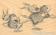 HOUSE MOUSE Hang On Tight Wood Mounted Rubber Stamp STAMPENDOUS Ice Skating