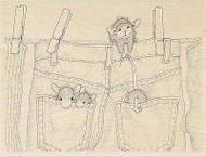 HOUSE MOUSE Hanging Jeans Mice Wood Mounted Rubber Stamp STAMPENDOUS HMR34 New