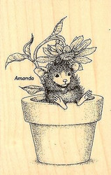 HOUSE MOUSE Summer Potted Mouse Wood Mounted Rubber Stamp STAMPENDOUS HMM10 New
