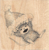 HOUSE MOUSE Whee Flight Santa Hat Wood Mounted Rubber Stamp STAMPENDOUS HMQ02