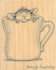 HOUSE MOUSE Wood Mounted Rubber Stamp STAMPENDOUS HMV04 Warm Cup of Coffee New