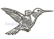 Hummingbird Bird Wood Mounted Rubber Stamp NORTHWOODS - E681 New