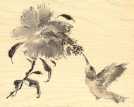 HUMMINGBIRD Flower SWEET VISIT Wood Mounted Rubber Stamp PENNY BLACK 4405K New