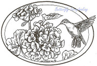 Hummingbird Geranium Flowers Oval Wood Mounted Rubber Stamp NORTHWOODS P8021 New