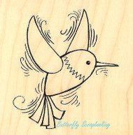 Hummingbird Pen Pattern Art Wood Mounted Rubber Stamp STAMPENDOUS Stamp Q199 New