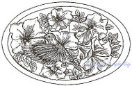 Hummingbird Petunia Flowers Oval Wood Mounted Rubber Stamp NORTHWOODS P6923 New