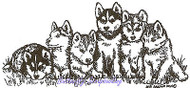 Husky Puppies, Wood Mounted Rubber Stamp NORTHWOODS - NEW, O9528