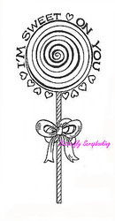I'm Sweet On You Lollipop, Wood Mounted Rubber Stamp NORTHWOODS - NEW, J9384
