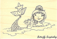 Jewel The Mermaid, Wood Mounted Rubber Stamp IMPRESSION OBSESSION E11114 NEW