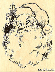 Jolly Santa Christmas, Wood Mounted Rubber Stamp STAMPENDOUS R156 NEW