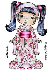Kimono Molli Stamp Set Cling Unmounted Rubber Stamp La La Land Crafts 2008 New
