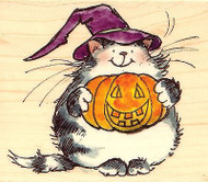 KITTY CAT HALLOWEEN PUMPKIN SOUP Wood Mounted Rubber Stamp PENNY BLACK 4088H New