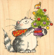 KITTY CAT TWEET CHRISTMAS Wood Mounted Rubber Stamp PENNY BLACK 4199K New