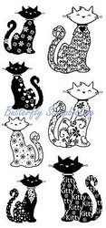 KITTY CATS CAT 7 Clear Unmounted Rubber Stamps Set INKADINKADO 60-30332 NEW
