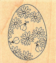 Ladybug Egg, Wood Mounted Rubber Stamp IMPRESSION OBSESSION - NEW, C9635
