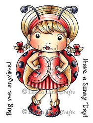 Ladybug Marci Stamp Set Cling Unmounted Rubber Stamp La La Land Crafts 5208 New
