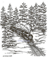LARGE Train in Forest Locomotive, Wood Mounted Rubber Stamp NORTHWOODS - P9349