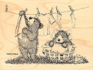 Laundry Day GRUFFIES Wood Mounted Rubber Stamp STAMPENDOUS, NEW - HGRR01