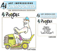 Lawn Ranger Birthday Unmounted Rubber Stamps with Cushion AI Art Impressions NEW