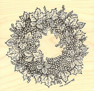 Leaf And Berry Wreath, Wood Mounted Rubber Stamp NORTHWOODS - NEW, PP7070