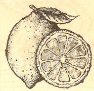 Lemon & Lemon Slice, Wood Mounted Rubber Stamp IMPRESSION OBSESSION - NEW, D4337