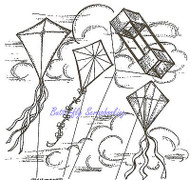 Lets Go Fly A Kite Scene Wood Mounted Rubber Stamp Northwoods Stamp PP9557 New