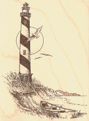 Lighthouse Boat & Gull Wood Mounted Rubber Stamp Impression Obsession E1261 NEW