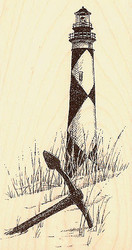LIGHTHOUSE Cape Lookout Wood Mounted Rubber Stamp Impression Obsession F1172 NEW