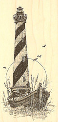 LIGHTHOUSE HATTERAS Wood Mounted Rubber Stamp Impression Obsession F1175 NEW