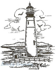 Lighthouse Scene Wood Mounted Rubber Stamp Northwoods Rubber Stamp New